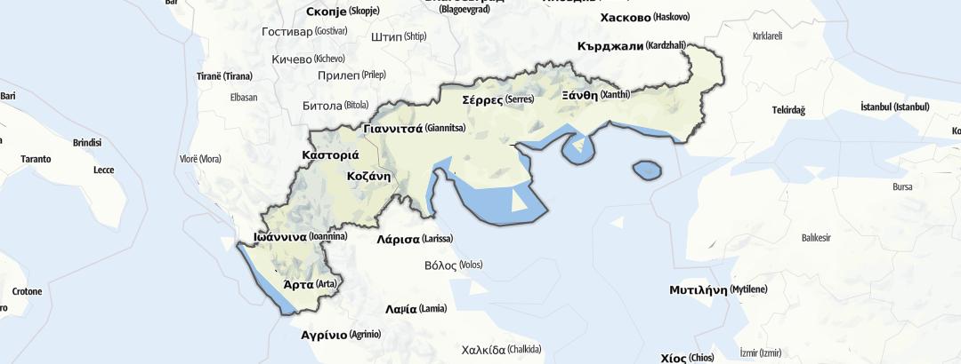 Kartta / Maastopyöräilyreitit kohteessa Northern Greece