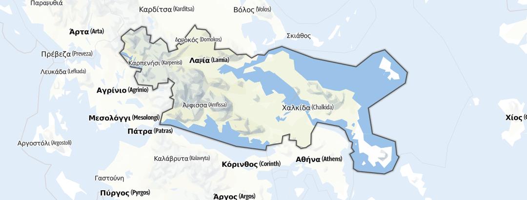 Kart / Fotturer i Central Greece