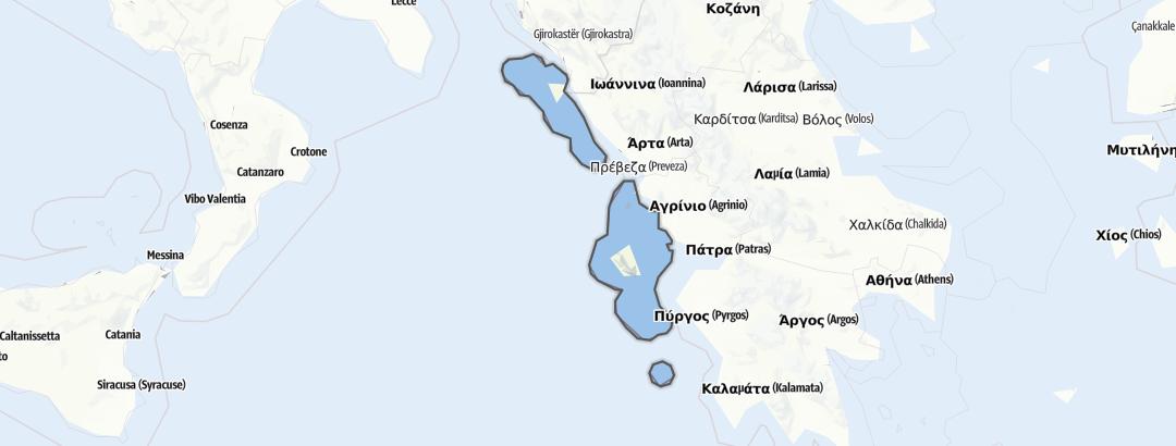 Mapa / Pochody v oblasti Ionian Islands