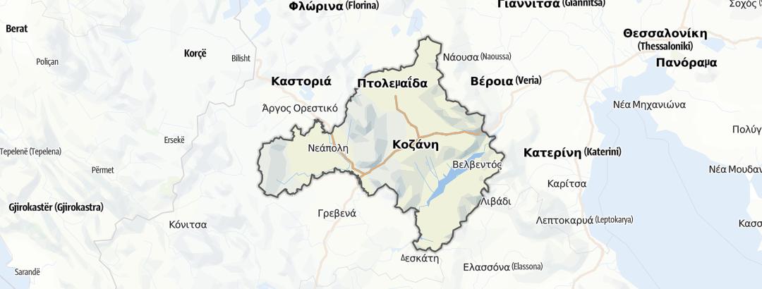 Térkép / Túrák,  Kozani területén