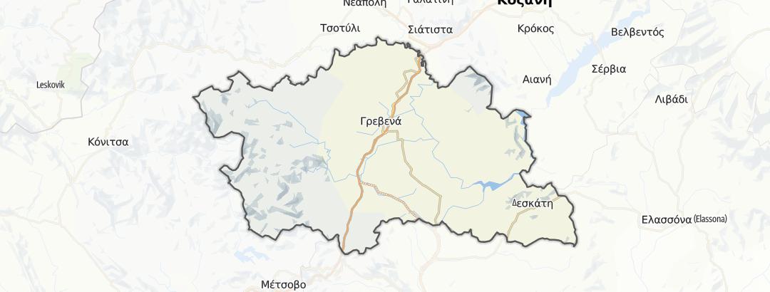 Térkép / Gyalogtúrák,  Grevena területén
