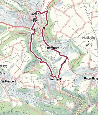 Karte / Zu historischen Orten um Glatten