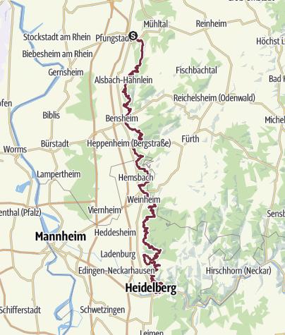 Karte / Burgensteig Bergstraße