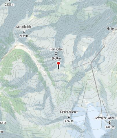 Map / Tuxer Joch nach Kasern - Weg 324 temporär gesperrt