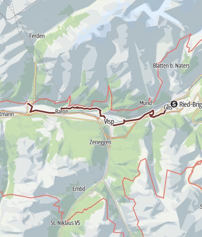 Map / Rhein-Reuss-Rhôneweg: Brig/Gils - Gampel