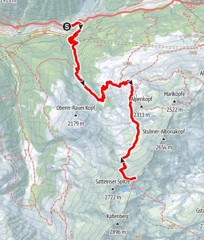 Map / Kaltenberghütte, 2081 m und Krachelspitze, 2686 m