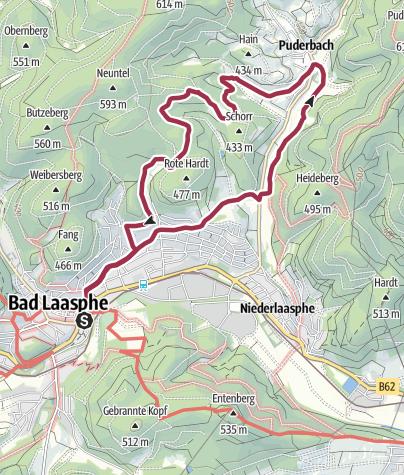 """Karte / L8 - Ortswanderwege Bad Laasphe - """"Nach Puderbach"""""""