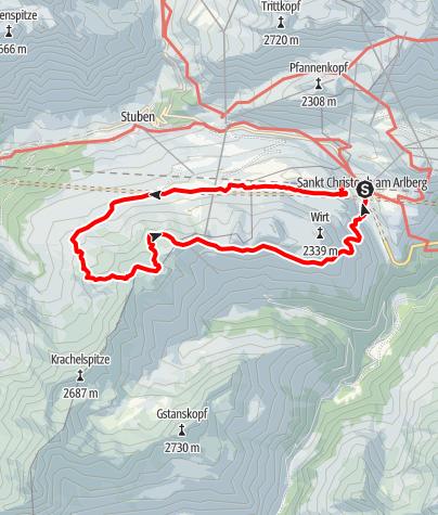 Karte / Kaltenberghütte, 2089 m und Maroiköpfe, 2529 m