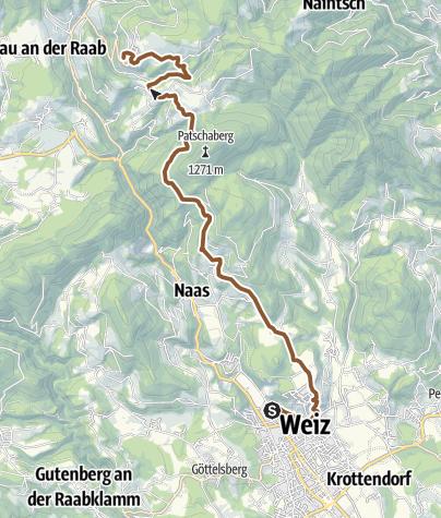 Map / Weizer Almenland Radtour, Variante 2, Streckenabschnitt, Weiz - Landscha - St. Kathrein/Offenegg