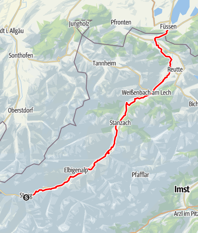 Karte / Tiroler Lech-Radweg
