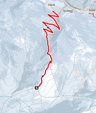Karte / 823 Fideriser Heuberge-Schlittelweg
