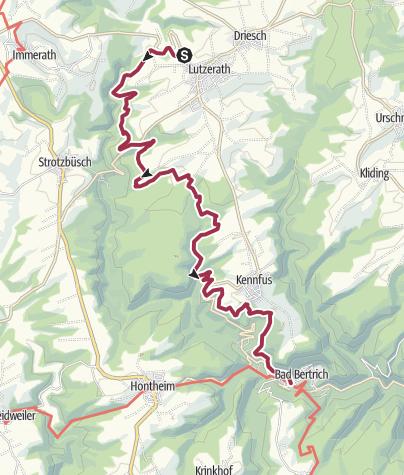 Karte / Vulkaneifel-Pfad: Maare-und-Thermen-Pfad: Etappe 2: Lutzerath - Bad Bertrich