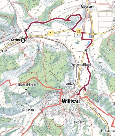 Karte / Familienwanderung Gettnau - Willisau