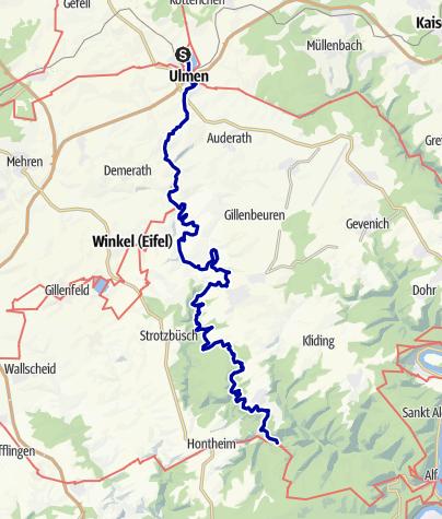 Karte / Vulkaneifel-Pfad: Maare-und-Thermen-Pfad (2 Etappen): Ulmen - Lutzerath - Bad Bertrich