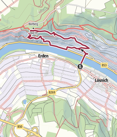 Karte / Kletterweg Erdener Treppchen / Prälat - in Erden an der Mosel