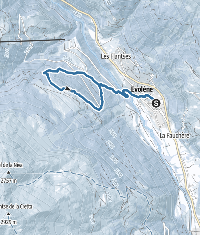 Map / Snowshoeing trail to the Lac d'Arbey