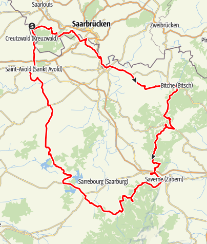 Karte / Vom Saarland ins Elsass - Motorradtour