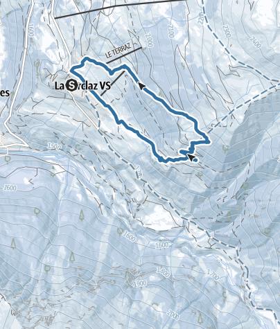 Map / Snowshoeing trail from La Forclaz to the Mayens de Bréona