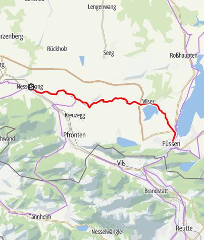 Karte / Radfernroute Bodensee-Königssee-Radweg Etappe: Nesselwang - Füssen