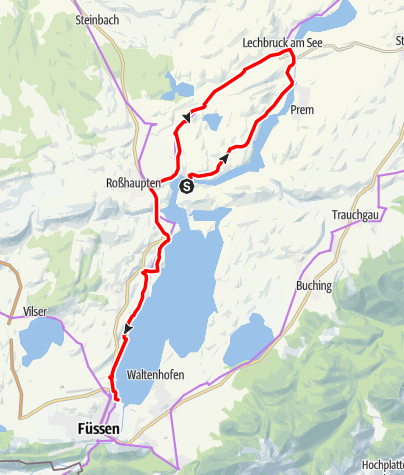 Karte / Radfernroute Via Claudia Augusta: Etappe Roßhaupten - Füssen