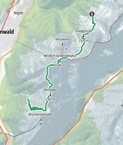 Map / Übergang Hochlandhütte Brunnsteinhütte über Mittenwalder Höhenweg