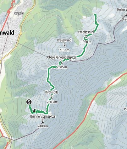 מפה / Übergang Brunnsteinhütte Hochlandhütte über Mittenwalder Höhenweg