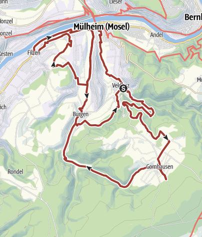 Karte / Grafen, Gold und Schwarzer Peter - Veldenz/Mülheim/Burgen/Hirzlei/Gornhausen - Kulturweg Grafschaft Veldenz