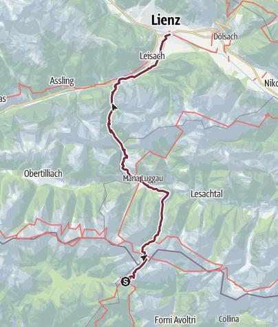 Cartina / Cammino delle Dolomiti Lienz - Maria Luggau – Sappada / Plodn
