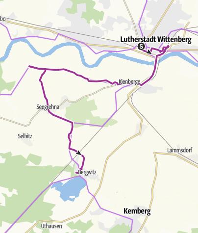 Karte / RAT RBL 2018 - Tour 2 (Rennradler) Wittenberg -> Waldhaus am Bergwitzsee