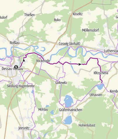 Karte / RAT RBL 2018 - Tour 4 Dessau-Roßlau via Wörlitz -> Waldhaus am Bergwitzsee