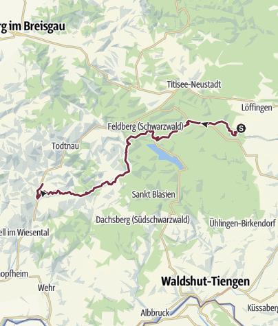 Map / 24-Stunden-Wanderung Schwarzwald: Löffingen - Schönau