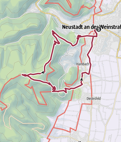 Karte / Wanderfit - Rundweg zum Hambacher Schloss mit herrlichen Aussichten
