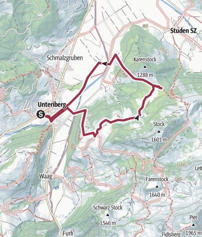 Karte / Rundwanderung Unteriberg-Hirsch-Breitplangg