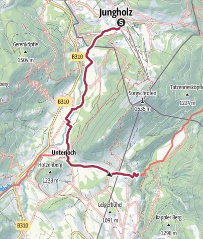 Karte / Von Jungholz zum Hotel Rehbach (Schattwald)
