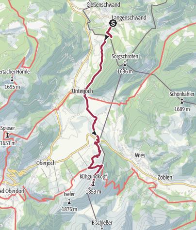 Karte / Wanderung Jungholz - Kühgundspitze