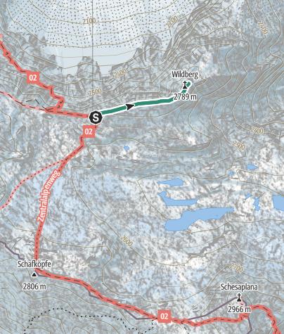 Karte / Wildberg vom Stützpunkt Mannheimer Hütte aus