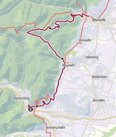 Karte / Wanderung nach Ribeauvillé
