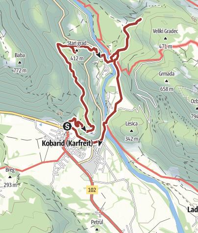 Cartina / l'itinerario storico di Kobarid