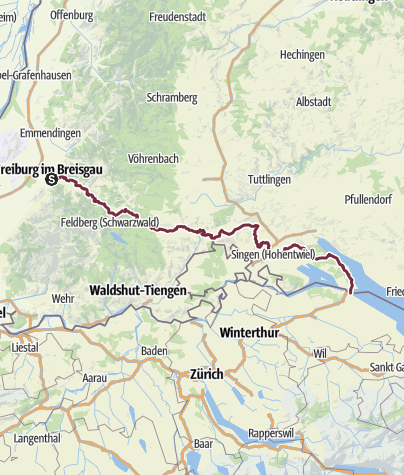 Karte / Schwarzwald-Querweg Freiburg-Bodensee