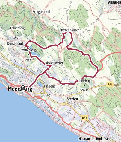 Karte / Rundwanderung um die Dörfer nördlich von Meersburg