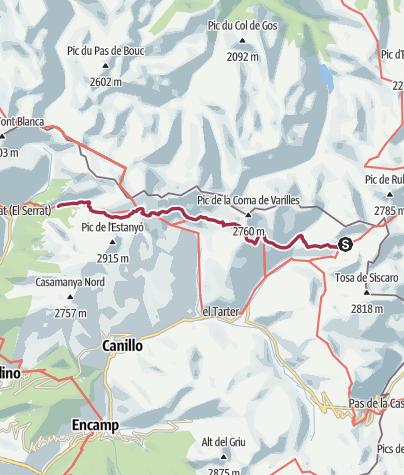Map / Refugi de Juclà to Refugi Sorteny