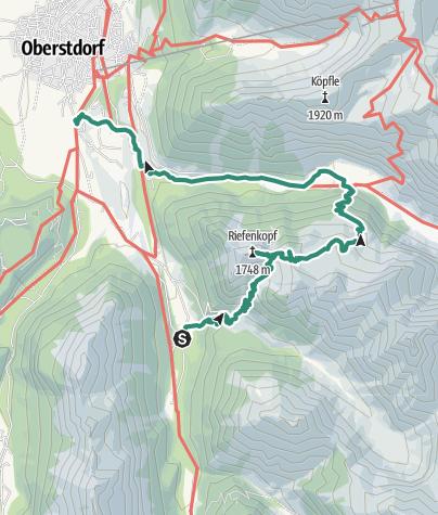 Karte / Riefenkopf und Hahnenköpfle