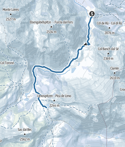 Map / Ski touring to the Fanes pasture
