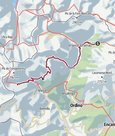 Map / Refugi Sorteny to Refugi Comapedrosa