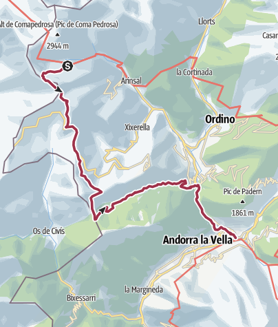 Map / Refugi Comapedrosa to Escaldes-Engordany