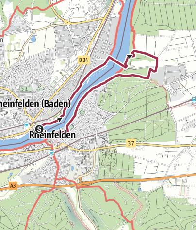 Karte / RHEINFELDER RHEINWEGE: Rheinfelder Rheinuferweg - Promenade rhénane à Rheinfelden