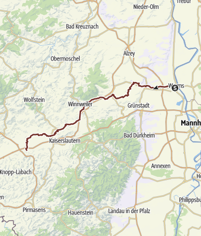 """Karte / Jakobspilgerweg Rheinhessen Pfalz """"Klosterroute Worms-Metz Nordspange"""""""