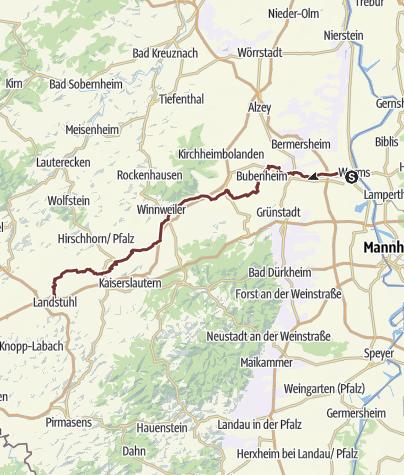 """Cartina / Jakobspilgerweg Rheinhessen Pfalz """"Klosterroute Worms-Metz Nordspange"""""""