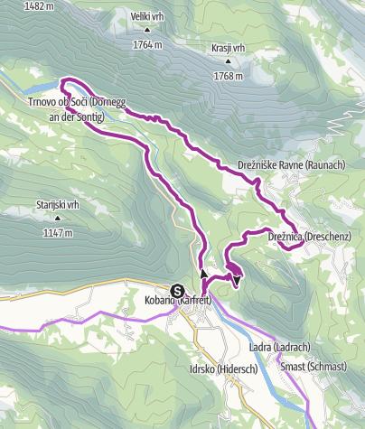 Carte / Krožna kolesarska tura ob Soči mimo Drežnice do Trnovega ob Soči