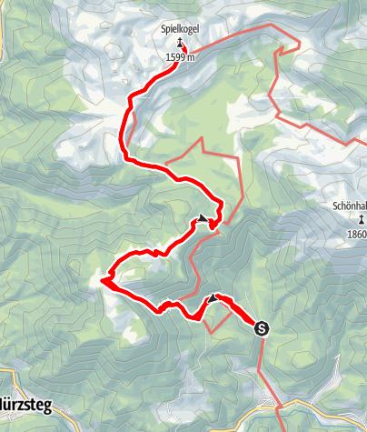 """Karte / Aus dem """"Tirol"""" über die Lach- und Hinteralm auf den Spielkogel im Naturpark Mürzer Oberland"""